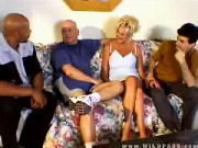Older guy is going to watch his MATURE WIFE fucking two other guys...