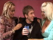 Two MILFS seducing a young guy